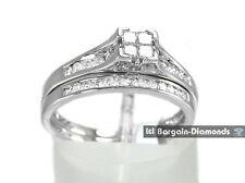 princess diamond .47 carats engagement wedding band 10K gold bridal ring set