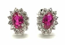 Sterling Silver Faceted Oval Pink Ruby CZ Halo Flower Petite Stud Post Earrings