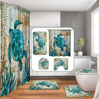 4PCS Sea Turtle Shower Curtain Bathroom Anti-slip Bath Mat Toilet Rug Cover Set