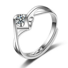 925 Silver Plated Wrap Solitaire Crystal CZ Heart Adjustable Ring. Size Q / 8
