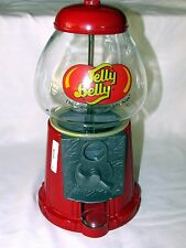 Jelly Belly Candy Dispenser Gumball Machine Coin Bank Red Metal Glass Globe