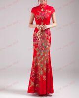 Phoneix Red Chinese Cheongsam Qipao Dress Long Women Party Wedding Evening Dress