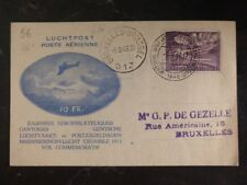 1946 Brussels Belgium First day Postcard  Airmail Cover FDC Domestic Used