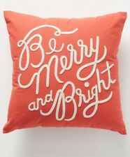 Anthropologie Rifle Paper Co Merry & Bright Christmas Pillow Holiday Embroidered