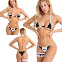 Womens Cosplay Lolita Lingerie Set Strappy Bra + G-string Maid Underwear Costume