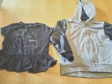 DKNY TODDLER GIRLS CLOTHES X 2 GREY HOODIE FAUX LEATHER SLEEVES/GREY TOP AGE 3