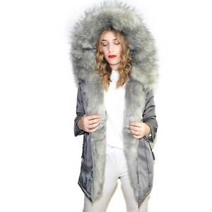 Parka impermeabile grigio  chiaro donna pelliccia voluminosa ecologica caldo