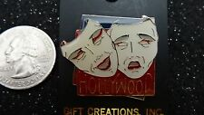 """HOLLYWOOD    """"Comedy & Tragedy Mask""""   Gift Creations PIN    Burgandy/Cream/Gold"""