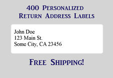 400 Printed Personalized Return Address Labels - 1/2 x 1 3/4 Inch