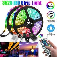 32.8FT 10M RGB LED Strip Light 3528 SMD 44 Key Remote 12V DC Power Full Kit Tape