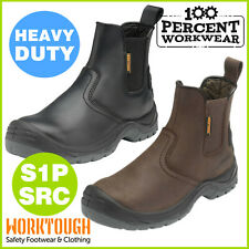 Heavy Duty Quality Leather Mens Dealer Slip On Safety Work Boots Shoes Steel Toe