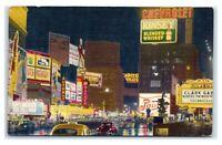 Postcard Times Square at Night, New York City linen 1952 E50