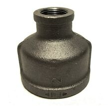 "2"" X 3/4"" BLACK MALLEABLE IRON PIPE THREADED REDUCER COUPLING FITTING - P6715"