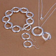"Sterling solid silver ""O"" necklace&bracelet&earrings&ring Jewelry Sets XLSS319"