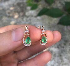 Emerald & Diamond  585 K Gold Earrings