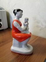 Russian soviet woman mother with baby child Russian porcelain figurine   93u