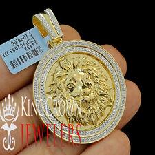 "Genuine Diamond Medallion King Lion Head Pendant (0.40ct) 2.25"" 10K Gold Finish"