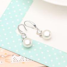 Pearl Crystal Rhinestones Drop Dangle Earrings Hook Lady Bride Wedding Ear Stud