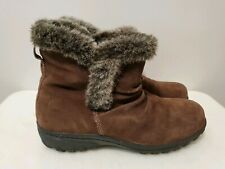Khombu Brown Leather Faux Fur Zip-Up Winter Ankle Boots for Women, Size 7