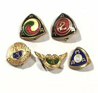 VINTAGE AMA (American Motorcycle Association) LOT of 5 pins Years 1-5 (1,2,3,4,5