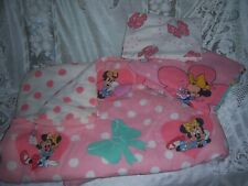 Vtg 80s 90s Disney's Minnie Mouse Pink & Teal Twin Bedding Comforter + Sheets