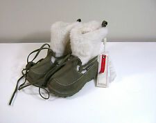 Mexx Infant Girls Army Green~Ivory Faux Suede~Fur Fall~Winter BOOTS Size 5 NWT
