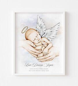 Angel Baby Personalised Infant Baby Loss Memorial Picture Print KeepsakeUNFRAMED