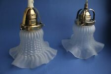 Pair Vintage 1930s Swedish  brass  milk glass  ceiling lamp