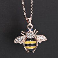 Honey Bee Pendant Fashion Rose Gold Jewelry Crystal Rhinestone Women Necklace