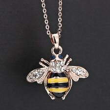 Honey Bee Pendant Fashion Rose Gold Jewelry Crystal Rhinestone Women Necklace