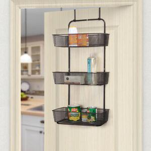 NEX 3Tier Mesh Basket Hanging Storage Unit Over Door Pantry Rack Organizer Black