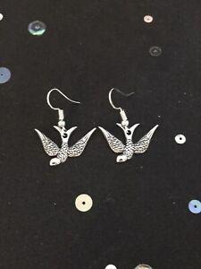 Silver Bird Earrings. Vintage Style Dangly Charm Earrings. Animal Jewellery