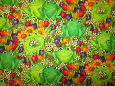 FROG WITH FLOWERS FROGS NATURE SETTING COTTON FABRIC BTHY