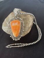 XL Native American Sterling Silver Navajo Pearls Orange SPINY OYSTER Pendant 151