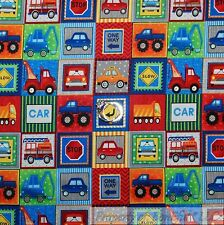 BonEful Fabric Cotton Quilt Blue Red White Toy Truck Car Little Baby Boy L SCRAP