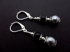 A PAIR DANGLY BLACK/GREY GLASS PEARL SILVER PLATED LEVERBACK HOOK EARRINGS. NEW.