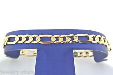 14kt Solid Yellow Gold Figaro Link Men's Bracelet 12.2gm, 9 inches