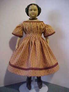 "Antique Repro Rust Print Dress For 14-16"" Izannah Walker, China, Papier Mache"