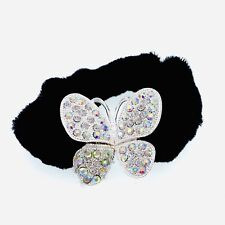 Butterfly Ponytail holder Elastic Rhinestone Crystal Hair Tie Rope Silver AB 1-7