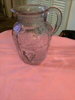 """Vintage Small 5"""" Unmarked Clear Glass Water Juice Pitcher Grapes & Leaves"""