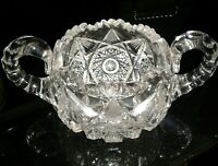 Vintage Crystal Double Handled Bowl Etched & Cut Glass Opened Top  (Spectacular)