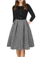 oxiuly Women's Vintage Elegant Scoop Neck Button, Bk-gird 7f, Size Medium zoiE