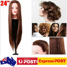 24in Synthetic Fiber Practice Hairdressing Training Head Mannequin Doll Clamp
