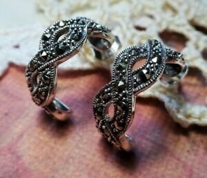 My S Collection 925 Sterling Silver & Marcasite Half Hoop Infinity Stud Earrings