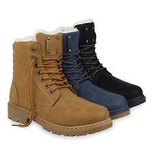 Damen Worker Boots Warm Gefütterte Winter Stiefeletten Schnürer 832472 Schuhe