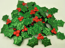 100X tuba Holly Berries and leaves Appliques for Christmas Decoration DIY 50mm