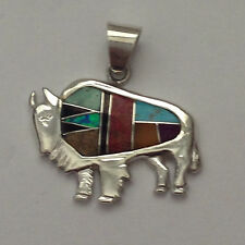 Sterling Silver Handmade Inlay Multi-Stone Standing Buffalo Pendant for Necklace