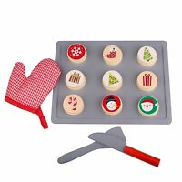 Timy Wooden Christmas Cookie Play Food Set Slice and Bake Pretend Play Toys