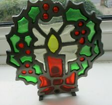 Leaded Light Christmas Candle Holder