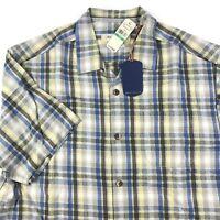 Tommy Bahama Mens Camp Shirt Darling Point Plaid Fur T312812 100% Silk New Large